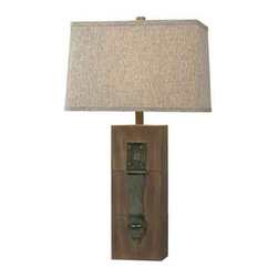 Kenroy Home - Kenroy Home 32091 Craftsman / Mission 1 Light Table Lamp - 1 Light Table Lamp with 3-Way Rotary Switch from the Locke CollectionInspired by the closures on medieval doors, this lamp adds a smart vintage feel to any room. Its Dark Wood and antiqued closure are accented by a textural shade.Features:
