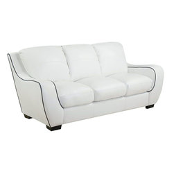 Global Furniture - Sofa in White with Black Welt Bonded Leather - Smooth curves and a bold design make this white leather-look sofa a must have piece for your home. The extra plush square seat and seat back provide supportive comfort while sleek track arms and a black contrast weld and accent stitching round out the des
