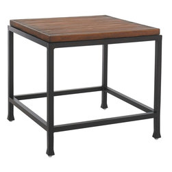 Lexington - Tommy Bahama Ocean Club Pacifica Side Table - The linear design is noted in the frame and simulated crushed bamboo surface, yet a contemporary flair is evident in the slightly recessed top and gentle curvature of the feet.