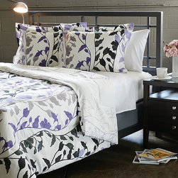 None - Grace Purple King-size 3-Piece Duvet Cover Set - This microfiber duvet cover set features a rich purple color with grey accents in a contemporary floral pattern. The duvet cover reverses to an outline of the design.