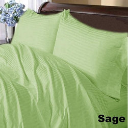 SCALA - 600TC Stripe Sage Full XL Flat Sheet & 2 Pillowcases - Redefine your everyday elegance with these luxuriously super soft Flat Sheet . This is 100% Egyptian Cotton Superior quality Flat Sheet that are truly worthy of a classy and elegant look.