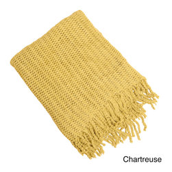 None - Knitted Throw Blanket - This soft throw blanket features a knitted design,available in designer colors. It is constructed of 100-percent acrylic for superior softness. Fringe detailing completes the look of this throw.