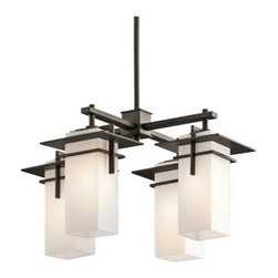Kichler Caterham 49638OZ Indoor/Outdoor Chandelier - 21 in. - Olde Bronze - Crossed metal arms provide stylish support for the four lights of the Kichler Caterham 49638OZ Chandelier - 21 in. - Olde Bronze. This simple, modern chandelier has satin-etched cased opal glass diffusers, and will blend easily with just about any contemporary outdoor decor. It comes with extra lead wire for installation, and uses four 100-watt bulbs (not included).Kichler QualitySince 1938, Cleveland-based Kichler Lighting has been known for their innovative designs and excellent craftsmanship. Kichler is the world's leading decorative lighting fixture company and the winner of four ARTS Lighting Manufacturer of the Year awards. Kichler designers travel the world to discover the latest trends in exterior and interior style, colors, and designs. They then translate the best of those trends into fixtures that will bring beauty, pleasure, and light into your home. Kichler fixtures stand the test of time and are functional works of art that you're sure to treasure.