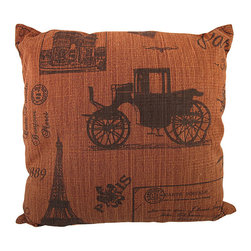 Zeckos - Vintage Paris Postcard Collage Red Burlap Throw Pillow 16 In. - Add a French accent to your worldly home decor with this decorative throw pillow. It features a collage of printed black Parisian postcard images on a red background. The pillow measures 16 inches tall, 16 inches wide, has a removable burlap cover and 100% cotton padding inside. This pillow looks great on beds, chairs, and couches anywhere in your home.
