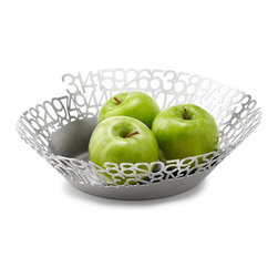 Modern Stainless Steel Basket - Surround your favorite pie fillings with the infinite number itself. Stainless steel cutouts designating the numbers in pi wind around the bowl to form a mathematically sound fruit basket, perfect for number and apple crunchers alike. Made in Canada.