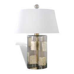 Interlude Home - Interlude Home Gemma Gold Glass Lamp - This transitional table lamp features a sea blue and antique gold glaze over glass and comes complete with the off white shade shown.