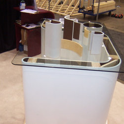 Various Curve products - Slightly different view of our booth for Curve-Corners for Drywall at the Chicago Remodeling show. We made a half wall with our product and then cut it horizontally so people could see down in to the wall and see how the product was installed.