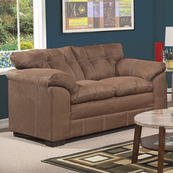 """Acme Furniture - Lucille Loveseat in Espresso Microfiber - Lucille Loveseat in Espresso Microfiber; Finish: Espresso Microfiber; Materials: Polyester, Density: 1.6; 100% Polyester; Weight: 90 lbs; Dimensions: 67""""L x 38""""D x 39""""H"""
