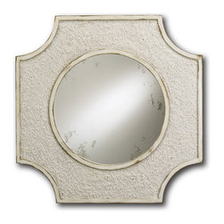 Currey & Co - Currey & Co 1005 Endsleigh Antique White Mirror - The simple geometric shape of the Currey & Co 1005 Endsleigh Antique White Mirror makes it an interesting piece for any room of your home. The antique white shade that borders the circular mirror helps it fit in with various color schemes, making it ideal for any decor. The textured appearance of the frame helps add some depth to the mirror so that the look is enhanced even further.