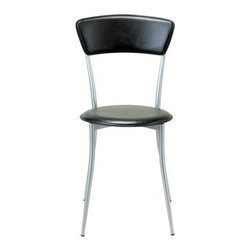 Adesso - Adesso Cafe Black Leather & Steel Dining Side Chair - Pair this cafe chair with our cafe table for a small sitting area or breakfast nook! Powder coated steel frame and legs. Available with either black leather or natural wood back and seat. Adesso was established in 1994 based on the belief that there was an under-served niche among consumers who sought high-end contemporary home products at moderate prices. Since then Adesso has not only revolutionized the home industry with its innovative products but also gained substantial recognition for its well-designed and well-priced lamps and RTA furniture quickly establishing itself as an industry leader and consumer favorite. From the onset when Adesso first introduced its lighting products an array of colors and materials were utilized in the design including metals rice-paper woven fabric glass resin renewable bamboo wood and cork! It wasn't long before a new category of RTA furniture was added to the product line. Everything from tables chairs and pedestals to media and coat racks and screens were included in this new assortment. The furniture was and remains fresh contemporary and always reasonably priced. Adesso's wide range of products allow them to cater to a variety of tastes to ensure you will always find the style you are looking for.