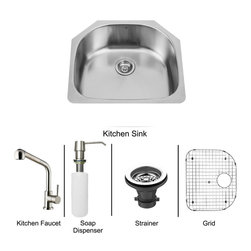 Vigo Industries - All in One 24 in. Undermount Stainless Steel Kitchen Sink and Faucet Set - Revitalize the look of your kitchen with a VIGO All in One Kitchen Set featuring a 24 in. Undermount kitchen sink, faucet, soap dispenser, matching bottom grid, and sink strainer. The VG2421 single bowl sink is manufactured with 18 gauge premium 304 Series stainless steel construction with commercial grade premium satin finish. Fully undercoated and padded with a unique multi layer sound eliminating technology, which also prevents condensation. All VIGO kitchen sinks are warranted against rust. Required interior cabinet space: 26 in. Kitchen sink is cUPC and NSF-61 certified by IAPMO. All mounting hardware and cutout template provided for 1/8 in. reveal or flush installation. The VG02019ST kitchen faucet features a dual function Pull-Out spray head for aerated flow or powerful spray, and is made of solid brass with a stainless steel finish. Includes a spray face that resists mineral buildup and is easy-to-clean. High-Quality ceramic disc cartridge. Retractable 360-Degree swivel spout expandable up to 30 in. Single lever water and temperature control. All mounting hardware and hot/cold waterlines are included. Water pressure tested for industry standard, 2. 2 GPM Flow Rate. Standard US plumbing 3/8 in. connections. Faucet height: 13 7/8''. Spout reach: 8 1/2''. Kitchen faucet is cUPC, NSF-61, and AB1953 certified by IAPMO. Faucet is ADA Compliant. 2-hole installation with soap dispenser. Soap dispenser is solid brass with an elegant stainless steel finish and fits 1 1/2 in. opening with a 3 1/2 in. spout projection. Matching bottom grid is Chrome-Plated stainless steel with vinyl feet and protective bumpers. Sink strainer is made of durable solid brass in chrome finish. All VIGO kitchen sinks and faucets have a Limited Lifetime Warranty.