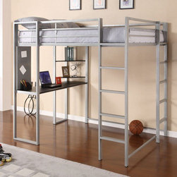 Dorel Home Products - Abode Full Loft Bed with Desk and Bookshelves - Features: -Designed for smaller spaces.-Silver frame with black desk and shelves.-Two ladders one on the front and one on the side, along with upper guardrails for added safety.-Accommodates one full size mattress.-Desk color: Black.-Shelves Silver finish.-Distressed: No.Dimensions: -Dimensions: 72'' H x 58.5'' W x 81'' D.-Overall Product Weight: 156.4 lbs.
