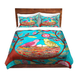 DiaNoche Designs - Duvet Cover Microfiber by Sascalia - Love Nest - DiaNoche Designs works with artists from around the world to bring unique, artistic products to decorate all aspects of your home.  Super lightweight and extremely soft Premium Microfiber Duvet Cover (only) in sizes Twin, Queen, King.  Shams NOT included.  This duvet is designed to wash upon arrival for maximum softness.   Each duvet starts by looming the fabric and cutting to the size ordered.  The Image is printed and your Duvet Cover is meticulously sewn together with ties in each corner and a hidden zip closure.  All in the USA!!  Poly microfiber top and underside.  Dye Sublimation printing permanently adheres the ink to the material for long life and durability.  Machine Washable cold with light detergent and dry on low.  Product may vary slightly from image.  Shams not included.