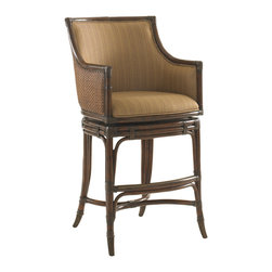 Lexington - Lexington Landara Oceana Swivel Bar Stool 545-816-01 - Luxurious woven raffia outside back, with upholstered inside back featured in a woven pattern with highlights of sunset gold and cilantro green, set on a chestnut background. Details like leather strapped carved rattan trim and antique brass finished metal kick plate and ferrules make this piece truly inspiring.