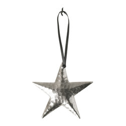 Native Trails - Copper Star Ornament, Brushed Nickel - The stars are out! Handmade by artisans, this one-of-a-kind hand hammered copper star ornament, plated in nickel, charms and delights wherever it hangs out. Tied with black ribbon, this elegant ornament will arrive in an ivory organza bag perfectly prepared to take top billing or to act as co-star.