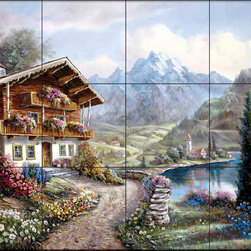 The Tile Mural Store (USA) - Tile Mural - Cv - High Country Retreat - Kitchen Backsplash Ideas - This beautiful artwork by Carl Valente has been digitally reproduced for tiles and depicts a cabin next to a lake.  This woodland tile mural would be perfect as part of your kitchen backsplash tile project or your tub and shower surround bathroom tile project. Wood land images on tiles add a unique element to your tiling project and are a great kitchen backsplash idea. Use a woodland scene tile mural for a wall tile project in any room in your home where you want to add interesting wall tile.