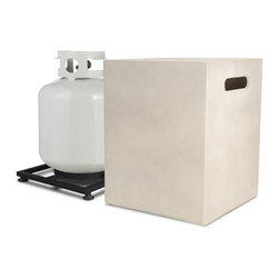 Real Flame - Mezzo 20lb Cube LP Tank Holder - Antique White - Everybody loves a good barbecue, but who wants to see the propane tank? This handsome cover will have your guests wondering where the gas is coming from for the fire. Simply cover up and get to barbecuing business.