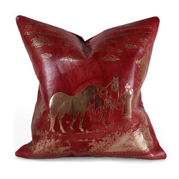 Pfeifer Studio - Chinese Red Leather Pillow - You're the master of your own dynasty with this exquisite red leather pillow. Embossed with antiqued gold foil, depicting a rural scene with livestock and two travelers, this pillow is backed in black leather and filled with a medium-down inner with a hidden zipper, telling an enchanting story while adorning your favorite chair.