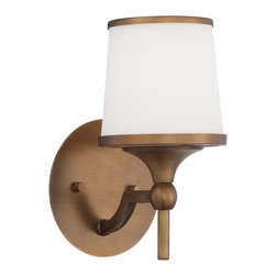 Savoy House - Savoy House Hagen Wall Sconce in Heirloom Brass - Shown in picture: The Hagen family offers sleek - streamlined style that is modern and classic. This group has a timeless appeal with a lustrous Heirloom Brass finish and soft white etched glass.