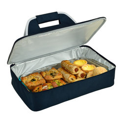 "Picnic at Ascot - Insulated Casserole Carrier, Navy - Food carrier with sturdy construction and Themal Shield insulation to keep food hot or cold during transport. Great to carry casseroles, cakes, rolls, etc. Fits up to al 11"" x 15"" (5 Qt) size casserold dish (not included). Features a sturdy centered handle to avoid tipping and zips fully open for easy packing."
