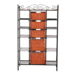 Holly & Martin - Rancho 5-Drawer Baker's Rack - Durable metal construction. Black powder coat finish. Assembly required. Top Baskets: 11 in. W x 11 in. D x 5 in. H. Bottom Baskets: 11 in. W x 11 in. D x 8 in. H. Top 6 Shelves: 8 in. W x 12 in. D x 6.5 in. H. Lower 4 Shelves: 8 in. W x 12 in. D x 10 in. H. Top: 30 in. W x 12 in. D. 31.5 in. W x 12.75 in. D x 52 in. H (47 lbs.). Assembly instructionsElegant and beautiful, this five-drawer kitchen rack will help with storage, display and organization all in one. Two large lower brown stained rattan baskets and three smaller upper baskets function as removable drawers while ten open wire shelves on the sides provide versatility. Decorative scrollwork laces the top for a classic touch.