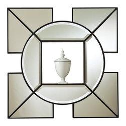 "Arabesque Shadow Box Mirror, Black - Arabesque Shadow Box Mirror. 24""W x 24""H x 3.5""Deep. Hangs with 12"" metal wall cleat provided."