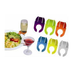 Vinotemp - Epicureanist Stemware Plate Clips - Set of 6 - Set of 6. Reusable. Multicolor clips. Fits standard stemmed glassware. Clips on to most plate types. Special opening to accommodate stemmed glassware. Great for parties and gatherings. Lead time: 3 to 5 days. 1.88 in. W x 3.13 in. D x 0.63 in. H. WarrantyThese colorful stemware plate clips support your glass so you can enjoy your food or a friendly handshake. The reusable clips adjusts to virtually any plate size. As a part of the stylish selection offered by epicureanist, this product makes a great gift for any wine lover.