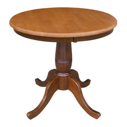 "International Concepts - International Concepts 30"" Round Dining Table in Cinnamon / Espresso - International Concepts - Dining Tables - K5830RT - This beautifully designed Round Pedestal Dining Table constructed in solid wood is perfect for any home decor."