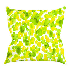 "Kess InHouse - Ebi Emporium ""Giraffe Spots - Lemon Lime"" Green Yellow Throw Pillow (18"" x 18"") - Rest among the art you love. Transform your hang out room into a hip gallery, that's also comfortable. With this pillow you can create an environment that reflects your unique style. It's amazing what a throw pillow can do to complete a room. (Kess InHouse is not responsible for pillow fighting that may occur as the result of creative stimulation)."