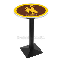 Holland Bar Stool - Holland Bar Stool L217 - Black Wrinkle Wyoming Pub Table - L217 - Black Wrinkle Wyoming Pub Table  belongs to College Collection by Holland Bar Stool Made for the ultimate sports fan, impress your buddies with this knockout from Holland Bar Stool. This L217 Wyoming table with square base provides a commercial quality piece to for your Man Cave. You can't find a higher quality logo table on the market. The plating grade steel used to build the frame ensures it will withstand the abuse of the rowdiest of friends for years to come. The structure is powder-coated black wrinkle to ensure a rich, sleek, long lasting finish. If you're finishing your bar or game room, do it right with a table from Holland Bar Stool.  Pub Table (1)