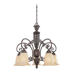 Designers Fountain - Designers Fountain Amherst Traditional Chandelier X-UB-68579 - An intricate design with fluid scrollwork and beautiful cut-outs add to the appeal of this Designers Fountain chandelier. From the Amherst Collection, it has been finished in an eye-catching Burnt Umber hue that accentuates all the finer details. Five beautiful antique harvest beige glass shades pull the look together.