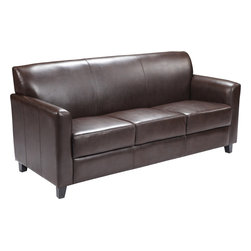 Flash Furniture - Brown Leather Sofa - Make an impression with your clients and customers with this attractive leather reception chair. Reception chairs are perfect for the office and waiting room seating. Not only will this chair fit in a professional environment/ but will add a chic look to your living room space. The contemporary design of this chair will fit in a multitude of environments with its comfortable cushions/ flared arms and black feet.