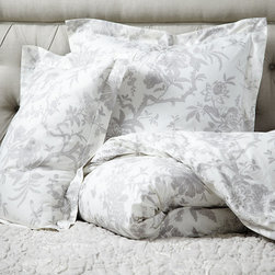 Ballard Designs - Jardin Toile Duvet Cover - Gray King - Layers well with Jardin Toile Quilt & Sham and Audree Pom Pom Quilt & Sham.. 200 thread count, 100% cotton percale. Knife-edge. Machine washable. With our Jardin Toile Bedding, you can sleep in a lush garden blooming with one of our favorite motifs. The hand finished Duvet Cover is in a dreamy 200 thread count cotton percale with an all over toile in soft, dreamy color printed on an ivory base. Hidden button closure. Jardin Toile Duvet Cover features: . . . .