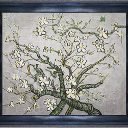 overstockArt.com - Van Gogh - Branches Of An Almond Tree in Blossom Oil Painting - Hand painted oil reproduction of a famous Van Gogh painting in an artists interpretation, Branches of an Almond Tree in Blossom. The original masterpiece was created in 1890. Today it has been carefully recreated detail by detail, in new to near perfection. Van Gogh created this painting as a gift for his newborn nephew. The way he made is brush strokes were fitting to the baby because he combined a sense of fragility and energy. A joyous and hopeful image for the child's future. Vincent Van Gogh's restless spirit and depressive mental state fired his artistic work with great joy and, sadly, equally great despair. Known as a prolific Post-Impressionist, he produced many paintings that were heavily biographical. This work of art has the same emotions and beauty as the original. Why not grace your home with this reproduced masterpiece? It is sure to bring many admirers!