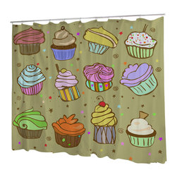Uneekee - Uneekee Color Cupcakes Shower Curtain - Your shower will start singing to you and thanking you for such a glorious burst of design as you start your day!  Full printing on the front and white on the back.  Buttonhole openings for shower rings.