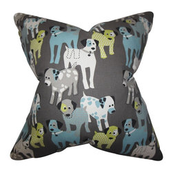 The Pillow Collection - Endicott Animal Print Pillow Gray - Give your home a refreshing vibe with this playful accent pillow. This throw pillow features a fun animal print pattern in shades of blue, white and green against a gray background. This toss pillow is perfect for your indoor space. Made of 100% high-quality cotton fabric. Crafted in the USA.