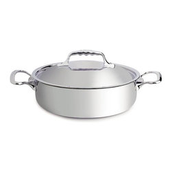 """de Buyer - de Buyer Affinity Multiply Stainless Steel Casserole Pan with lid -3.17 qt. - 7-layers of a combined alloy of stainless steel and aluminum.Very quick cooking and even heat distribution throughout the pan due to the alloy. Special innovative ferro-magnetic bottom ensure cookware is suitable for induction cooktops.Polished stainless steel exterior. Round edges Pouring rim and the cast stainless steel ergonomic handle firmly riveted. Suitable for all cooktops including induction. Dishwasher safe.; however handwash recommended. Dimensions: 9.4"""" diameter x 2.95"""" high (24cm x 7.5cm) Made in France."""