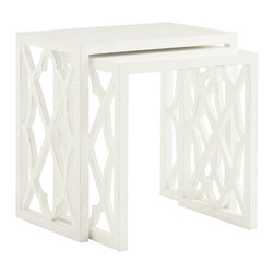 Lexington - Lexington Ivory Key Stovell Ferry Nesting Tables Set of 2 543-957 - The nesting tables feature open lattice side panels and solid tops.