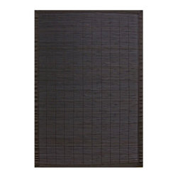 """Anji Mountain - Bamboo Rugs Villager Ebony Rug - Bamboo rugs have been a traditional floor covering in the Far East for centuries. They add a touch of organic, practical elegance to any space. Our bamboo rugs are made of the finest quality, sustainably harvested bamboo in the world and offer supreme durability. Features: -100% Moso bamboo harvested in its native habitat in the Anji Mountains of China.-Mitered polypropylene borders provide resilience and clean design.-Eco-friendly, non-skid rug pad backing is ventilated and provides excellent cushioning while extending the life of your rug.-Spot clean with a damp cloth and water; recommended for indoor use.-Natural fading will occur in direct sunlight.-Kiln-dried bamboo is machine-planed and sanded for a smooth finish.-Varied, narrow bamboo slats in black with a black border; Accent stitching across the slats matches the bamboo color.-Distressed: No.-Collection: Bamboo Rugs.-Construction: Machine woven.-Technique: Machine woven.-Primary Pattern: Solid.-Primary Color: Ebony.-Border Material: Polypropylene.-Border Color: Black.-Type of Backing: Eco-soy non-slip rug pad.-Material: 100% Bamboo.-Fringe: No.-Reversible: No.-Water Repellent: No.-Mildew Resistant: No.-Stain Resistant: No.-Fade Resistant: No.-Swatch Available: No.-Eco-Friendly: Yes.-Outdoor Use: No.-Product Care: Clean surface with a damp, clean cloth. Spot-clean borders with mild dish soap and water solution. Plastic or felt casters are recommended for chair or furniture legs to protect against scratching and cracking of bamboo slats..Specifications: -CRI certified: No.-Goodweave certified: No.Dimensions: -Pile Height: 0.2"""".-Overall Product Weight (Rug Size: 2' x 3'): 2 lbs.-Overall Product Weight (Rug Size: 4' x 6'): 6 lbs.-Overall Product Weight (Rug Size: 5' x 8'): 10 lbs.-Overall Product Weight (Rug Size: 6' x 9'): 13 lbs."""