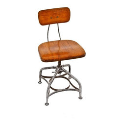 """Industrial Stools - c. 1920's all original american industrial adjustable height """"uhl art steel"""" stationary factory office stool or posture chair with quartered oak wood seat - toledo metal furniture co., toledo, oh. urban remains"""