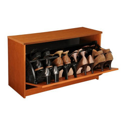 Venture Horizon - Single Shoe Cabinet w Tilt-Open Door in Cherr - Fits approximately 12 pairs of shoes. Tilting doors save space. Large storage capacity. Stackable. Protects shoes. Stain resistant and easy to clean. Constructed from durable, stain resistant and laminated wood composites that includes MDF. Made in the USA. Assembly required. Weight: 33 lbs.. Assembled size: 30 in. W x 11.5 in. D x 18 in. HStackable Shoe Cabinets...Organizes and protects your investment. Just think about how much money we spend on just one pair of shoes. It adds up. Before you know it there are thousands of dollars worth of shoes cluttering up the floor of the closet. Our cabinets will accommodate the largest shoe collections. Getting them off the floor. Neatly organized in their own space. Keeping them clean and protected. Also eases the selection process each and every morning.