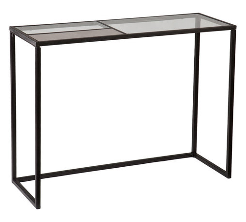 Holly & Martin - Holly & Martin Eamce Console - Open up space with minimalist design. The geometric beauty of the Eamce Console sleekly lines up the entry or living room. The black metal frame contrasts a divided glass top with one panel of antique mirror glass for the mixed material lovers. Think outside of the box by working this versatile, open console table into bar or buffet areas.