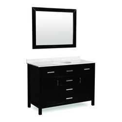"""Belmont Decor - Belmont decor """"Hampton"""" single sink vanity - Elegant simplicity and a deep Espresso finish keynote the versatile Hampton single sink vanity. The counter top is made from high quality heat and scratch resistant Carrera natural marble. Clean lines and square shapes are accented by the luxurious modern handles that make the Hampton a perfect addition to your bathroom decor."""