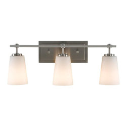 Murray Feiss - Murray Feiss Sunset Drive Bathroom Lighting Fixture in Brushed Steel - Shown in picture: Sunset Drive Vanity Strip in Brushed Steel finish with White Opal EtchEtched Glass