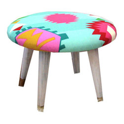 PinkPianos - Midcentury Modern Neon Tribal Stool - This colorful Midcentury Modern Neon Tribal Stool adds a punch of color to your interior decor. This stool is completely new! featuring:
