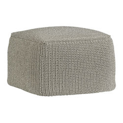 Lexie Pouf - Versatile pouf goes for sweater-casual in crochet, hand-hooked from durable yarns into a high texture, rounded cube in a décor-friendly grey. Use it as an ottoman, extra seating or as an impromptu side table.