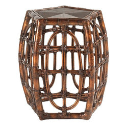 Lexington - Tommy Bahama Home Royal Kahala Oval Reef Accent Table - The Oval Reef Accent Table features a leather-wrapped bent rattan base and a beautiful mitered sugar cane top, showcasing its beautiful pan-Asian influence. The woven geometric design on the five sides of this pentagonal-shaped table adds striking visual interest, making this table a truly eye-catching piece. The warm Tortoise Shell finish of the rattan will shimmer honey golden hues into your home, adding rich sophistication in any room. Reinvigorate your sense of style by welcoming the Oval Reef Accent Table into your home.