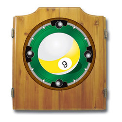 Trademark Global - Fully Equipped Dart Cabinet w 9-Ball Logo - How about a fun game of darts while you wait your turn at the billiards table.  This handsome pine wall cabinet is a fabulous addition to any well-appointed game room.  Featuring the Nine Ball logo on the front and inside, the double doors open to reveal a fully equipped game set including bristle dart board and scoreboards.  Save money by having family fun at home with this affordable set.. Includes dartboard, 6 darts, scoreboard, out chart, marker and mounting brackets. Full color logo displayed on front of cabinet. Full color logos also displayed above the scoreboards inside the cabinet doors. Bristle dartboard. 2 Set of darts. Solid wood cabinet. Medium wood finish. 23.25 in. W x 3.50 in. D x 21.25 in. H (30 lbs.)This 9-Ball dart cabinet features a quality dart board and darts included.