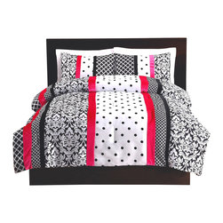 Pem America - Black and Pink Dot Stripe Full Comforter and Pillow Shams - Bold black and white dots and damask prints in a striped patterns with a touch of bright color.  This pieced microfiber comforter will bring a sophisticated air to your room with a little POP of pink. Easy to care for and ready to go into any dorm. 1 Full Comforter, 76x86 inches and 2 standard shams, 20x26 inches. 100% microfiber polyester face with 100% polyester fill. Machine washable.
