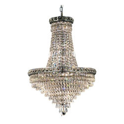 """PWG Lighting / Lighting By Pecaso - Karci 22-Light 22"""" Crystal Chandelier 2148D22C-EC - The Karci Collection is as serene as its namesake. Layers of cascading crystal form this series of Crystal Chandeliers and Crystal Flush Mounts. Quietly and graceful this design to work in a wide range of decorating styles."""